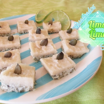 Receita/Recipe: https://arquetipicocozinhainusitada.wordpress.com/2016/08/22/quadrados-de-lima-lime-squares/