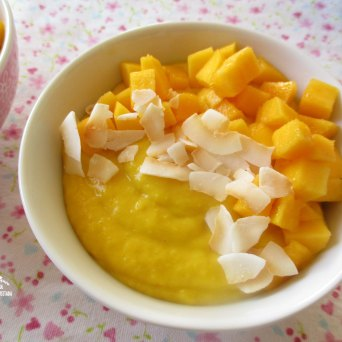 Receita/Recipe: https://arquetipicocozinhainusitada.wordpress.com/2016/12/31/mousse-de-manga-e-coco-mango-and-coconut-mousse/