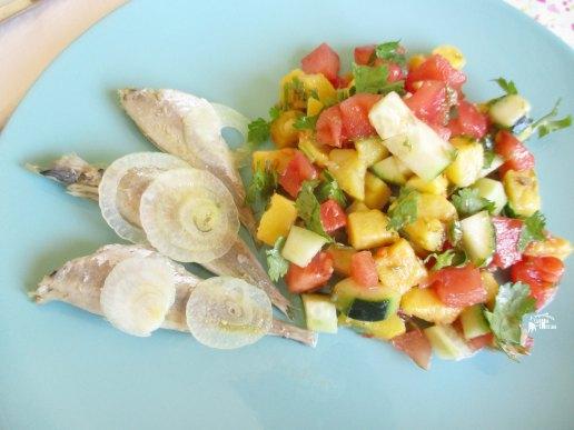 Carapaus Alimados com salada Algarvia - Marinated Horse Mackerel (Portuguese Recipe) Prato
